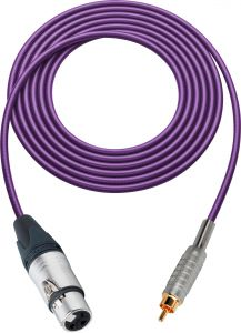 Sescom SC100XJRPE   Audio Cable Canare Star-Quad 3-Pin XLR Female to RCA Male Purple - 100 Foot