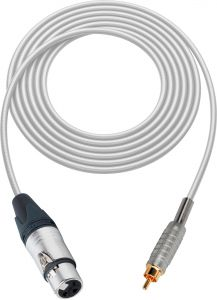 Sescom SC100XJRWE   Audio Cable Canare Star-Quad 3-Pin XLR Female to RCA Male White - 100 Foot