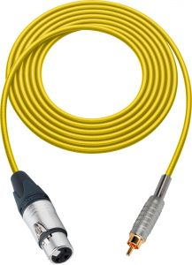 Sescom SC100XJRYW   Audio Cable Canare Star-Quad 3-Pin XLR Female to RCA Male Yellow - 100 Foot