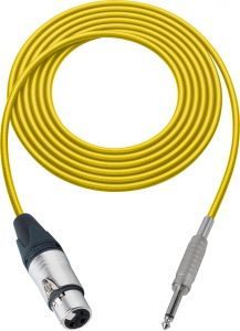 Sescom SC100XJSYW   Audio Cable Canare Star-Quad 3-Pin XLR Female to 1/4 Inch TS Male Yellow - 100 Foot