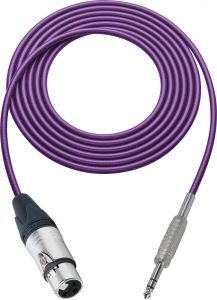 Sescom SC100XJSZPE   Audio Cable Canare Star-Quad 3-Pin XLR Female to 1/4 Inch TRS Male Purple - 100 Foot