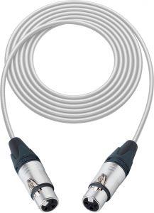 Sescom SC100XJXJWE   Audio Cable Canare Star-Quad 3-Pin XLR Female to 3-Pin XLR Female White - 100 Foot