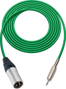 Sescom SC100XMGN   Audio Cable Canare Star-Quad 3-Pin XLR Male to 3.5mm TS Male Green - 100 Foot
