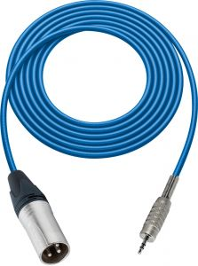 Sescom SC100XMZBE   Audio Cable Canare Star-Quad 3-Pin XLR Male to 3.5mm TRS Male Blue - 100 Foot