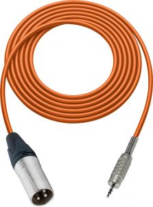Sescom SC100XMZOE   Audio Cable Canare Star-Quad 3-Pin XLR Male to 3.5mm TRS Male Orange - 100 Foot