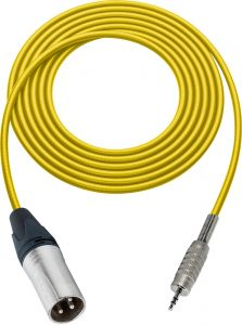 Sescom SC100XMZYW   Audio Cable Canare Star-Quad 3-Pin XLR Male to 3.5mm TRS Male Yellow - 100 Foot