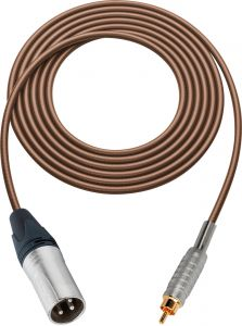 Sescom SC100XRBN   Audio Cable Canare Star-Quad 3-Pin XLR Male to RCA Phono Male Brown - 100 Foot