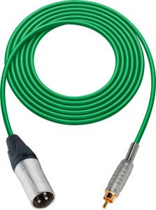 Sescom SC100XRGN   Audio Cable Canare Star-Quad 3-Pin XLR Male to RCA Phono Male Green - 100 Foot