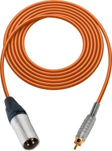Sescom SC100XROE Audio Cable Canare Star-Quad 3-Pin XLR Male to RCA Male Orange - 100 Foot