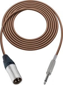Sescom SC100XSBN   Audio Cable Canare Star-Quad 3-Pin XLR Male to 1/4 Inch TS Male Brown - 100 Foot