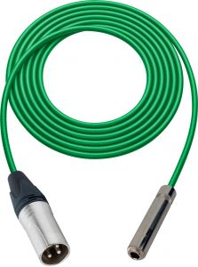 Sescom SC100XSJGN   Audio Cable Canare Star-Quad 3-Pin XLR Male to 1/4 Inch TS Female Green - 100 Foot