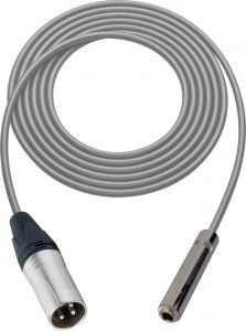 Sescom SC100XSJGY   Audio Cable Canare Star-Quad 3-Pin XLR Male to 1/4 Inch TS Female Gray - 100 Foot
