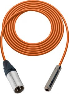 Sescom SC100XSJOE   Audio Cable Canare Star-Quad 3-Pin XLR Male to 1/4 Inch TS Female Orange - 100 Foot