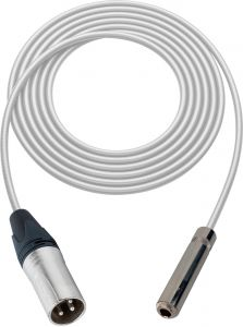 Sescom SC100XSJWE   Audio Cable Canare Star-Quad 3-Pin XLR Male to 1/4 Inch TS Female White - 100 Foot