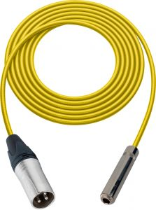 Sescom SC100XSJYW Audio Cable Canare Star-Quad 3-Pin XLR Male to 1/4 TS Mono Female Yellow - 100 Foot