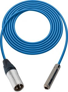 Sescom SC100XSJZBE Audio Cable Canare Star-Quad 3-Pin XLR Male to 1/4 TRS Balanced Female Blue - 100 Foot
