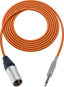 Sescom SC100XSOE   Audio Cable Canare Star-Quad 3-Pin XLR Male to 1/4 Inch TS Male Orange - 100 Foot