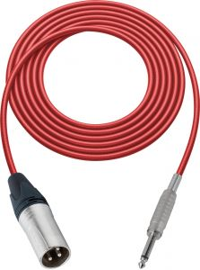 Sescom SC100XSRD   Audio Cable Canare Star-Quad 3-Pin XLR Male to 1/4 Inch TS Male Red - 100 Foot