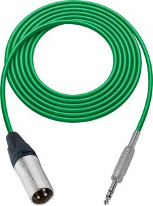Sescom SC100XSZGN Audio Cable Canare Star-Quad 3-Pin XLR Male to 1/4 TRS Balanced Male Green - 100 Foot