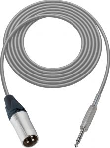Sescom SC100XSZGY   Audio Cable Canare Star-Quad 3-Pin XLR Male to 1/4 Inch TRS Male Gray - 100 Foot