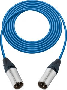 Sescom SC100XXBE   Audio Cable Canare Star-Quad 3-Pin XLR Male to 3-Pin XLR Male Blue - 100 Foot