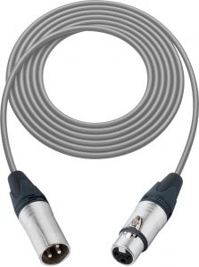 Sescom SC100XXJGY Mic Cable Canare Star-Quad 3-Pin XLR Male to 3-Pin XLR Female Gray - 100 Foot
