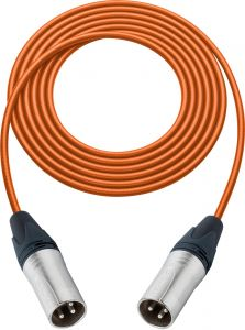 Sescom SC100XXOE Audio Cable Canare Star-Quad 3-Pin XLR Male to 3-Pin XLR Male Orange - 100 Foot