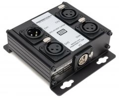 Sescom SES-4X1M3F-CATBX 4 Channel Passive Balanced Audio Extender over CAT 5/6/7- RJ45 to 1 Male & 3 Female XLR