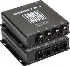 Sescom SES-X-FA4LXT01   Audio over Fiber EXTENDER: 4 CH Balanced XLR Line Level Audio & ST Fiber Connection