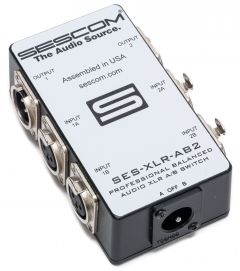 Sescom SES-XLR-AB2 Two Source to One Destination 2-Channel Balanced Passive XLR A/B Stereo Audio Switch