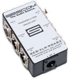 Sescom SES-XLR-RGAB2 One Source to Two Destination 2-Channel Balanced Passive XLR A/B Stereo Audio Switch