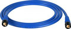 Laird Digital Cinema T1694-B-B-200-BE Laird Belden 1694A RG6 w/ Trompeter UPL2000 Black & Gold 3G-SDI BNC Cable - 200 Foot Blue